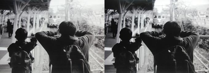 谷汲駅の親子 画像処理1